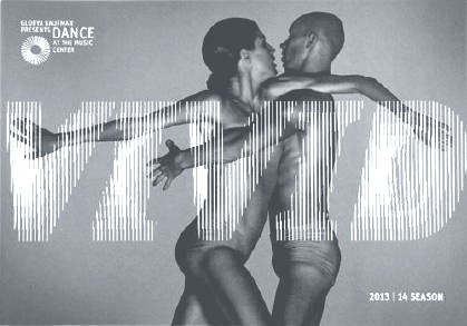 Dance at The Music Center season brochure cover – two dancers intertwined with the word