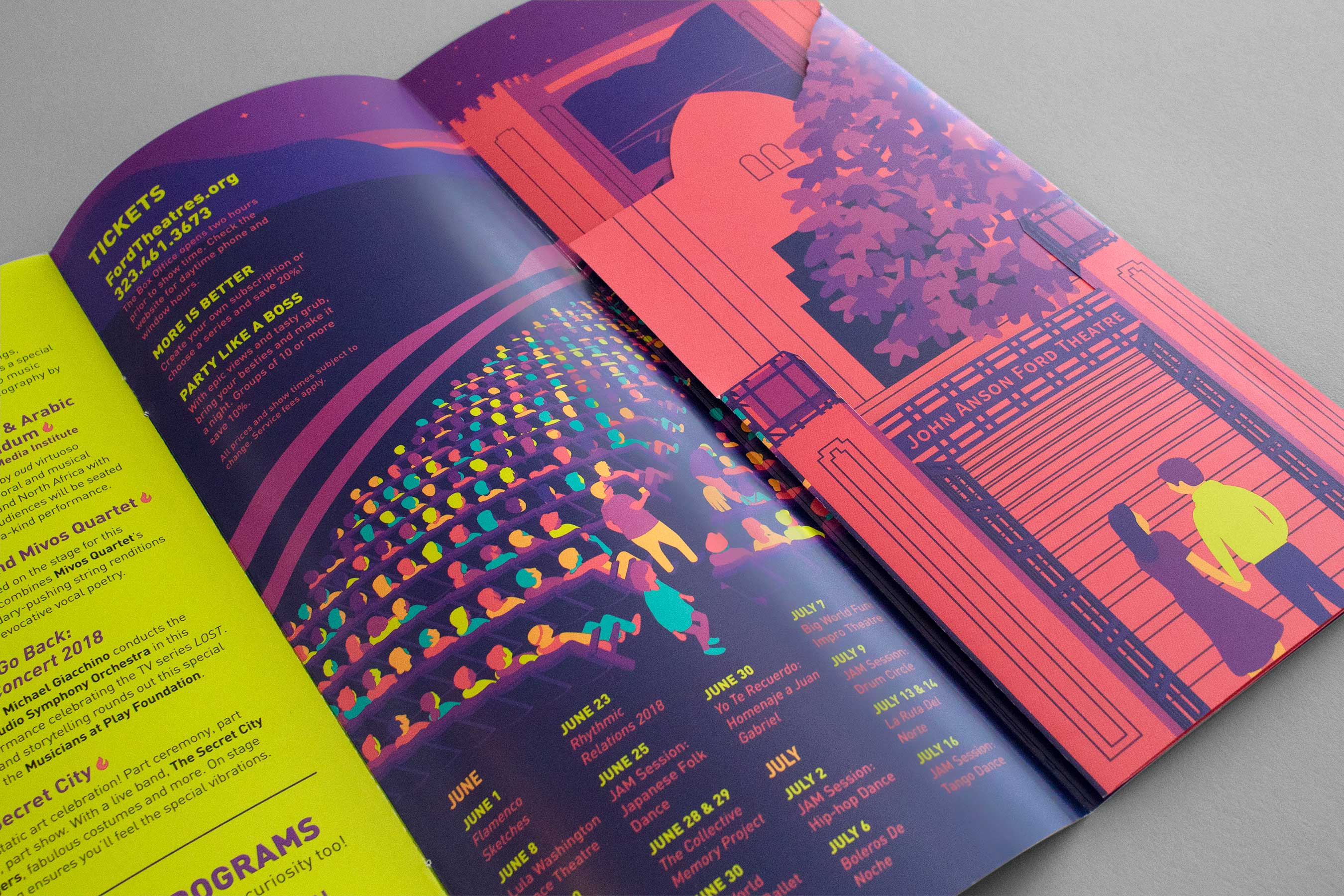 an illustrated brochure lies open on a table, revealing part of an audience