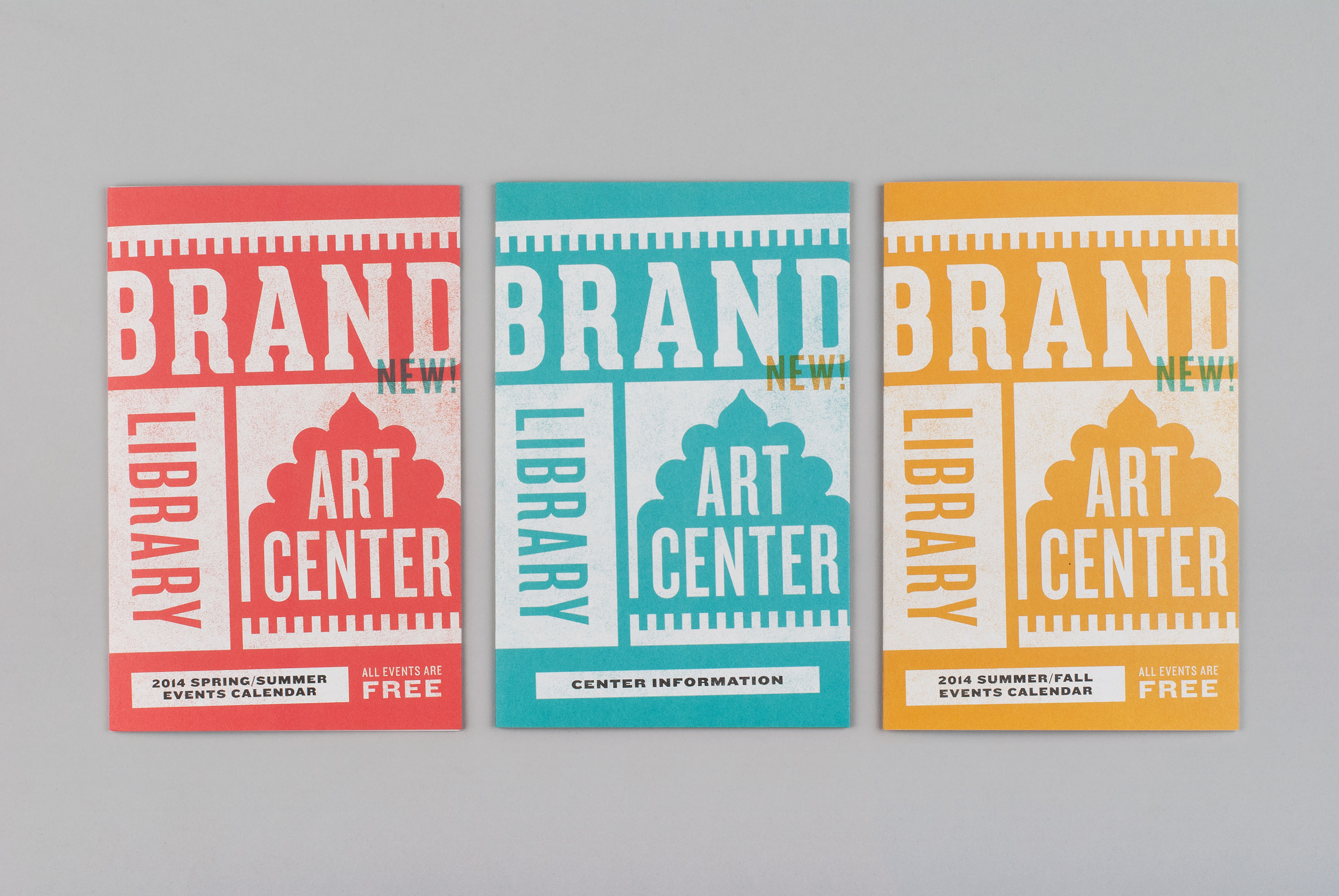 Three brochure covers for Brand Library & Art Center