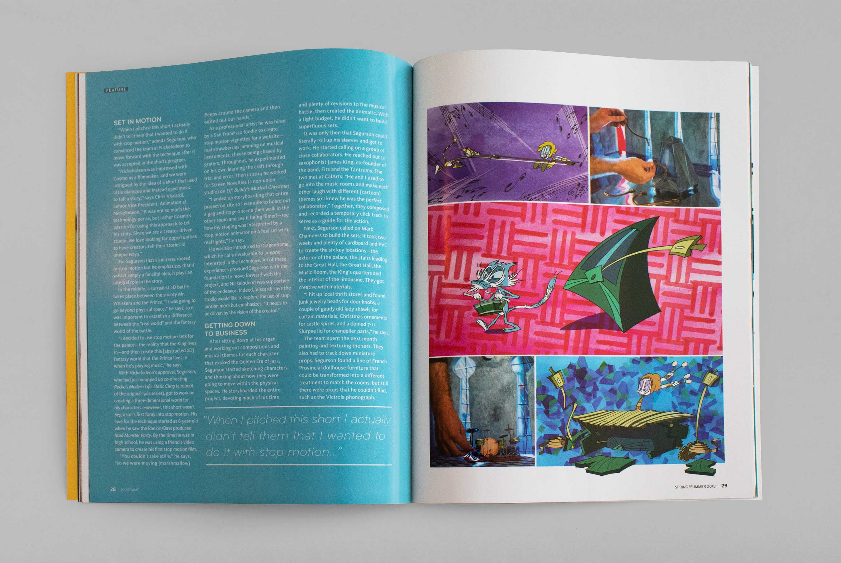 a colorful magazine spread with text on the left and a comic-book like page on the right, featuring photos of a stop-motion setup as well as stills from a cartoon